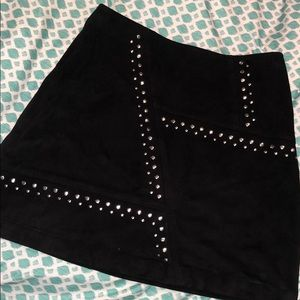 Black Suede Skirt w/ Silver Stud Accents